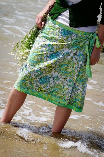 DIY wrap skirt...no pattern, but has fabric sizing....looks pretty simple to make