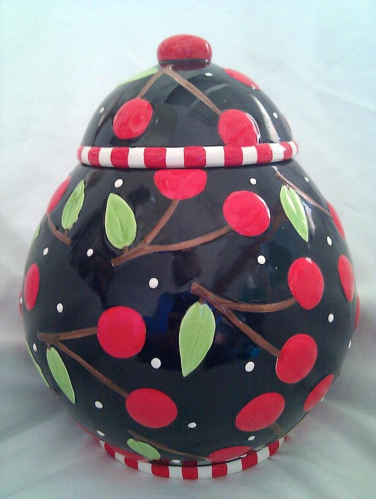 Mary Engelbreit Cookie Jar-Cherries-1995-Pristine Condition-Sakura-10 x 7 Inches | eBay