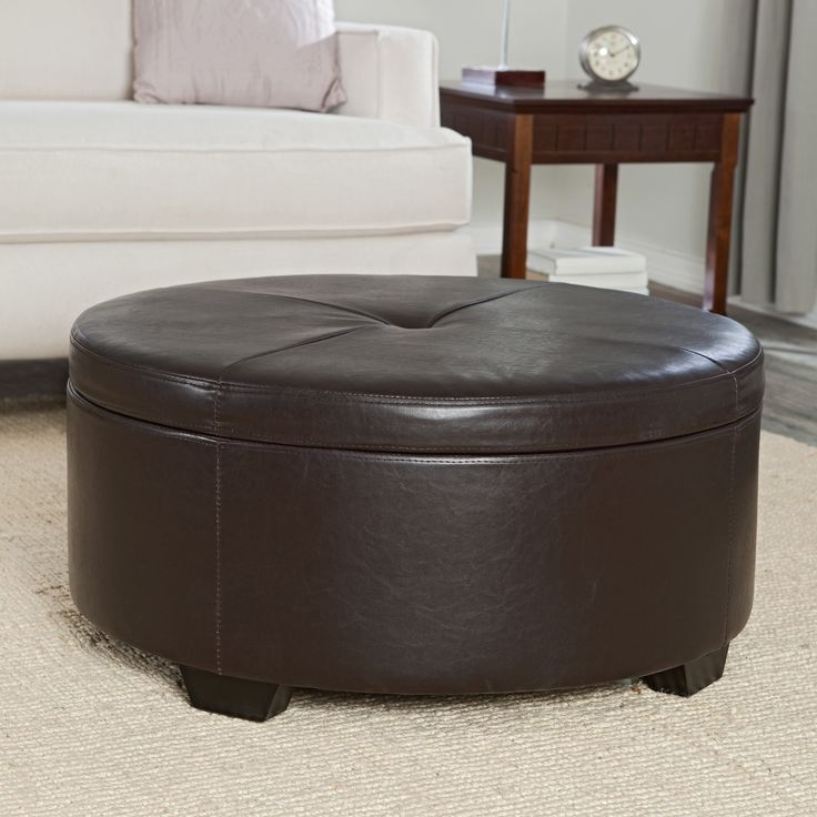 Belham Living Corbett Coffee Table Storage Ottoman   Round   We Know How  Cluttered The Family