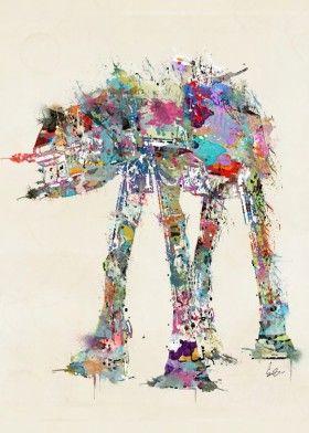 starwars robots watercolors modern colorful movies retro popart