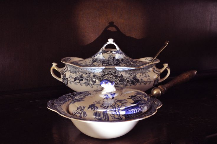 1930s Burleigh Ware and Victorian Keeling and Co. Tureens.