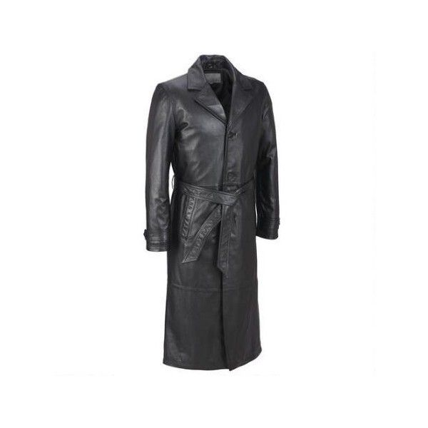 Wilsons Leather Classic Leather Trench Coat ($240) ❤ liked on Polyvore featuring men's fashion, men's clothing, men's outerwear, men's coats, mens leather coats, mens leather trench coat and mens trench coat
