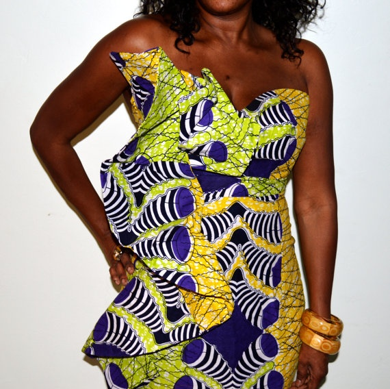 Strapless Lime and Green Long Dress With Side by ZabbaDesigns, $125.00 #AfricaFashion #AfricanPrints