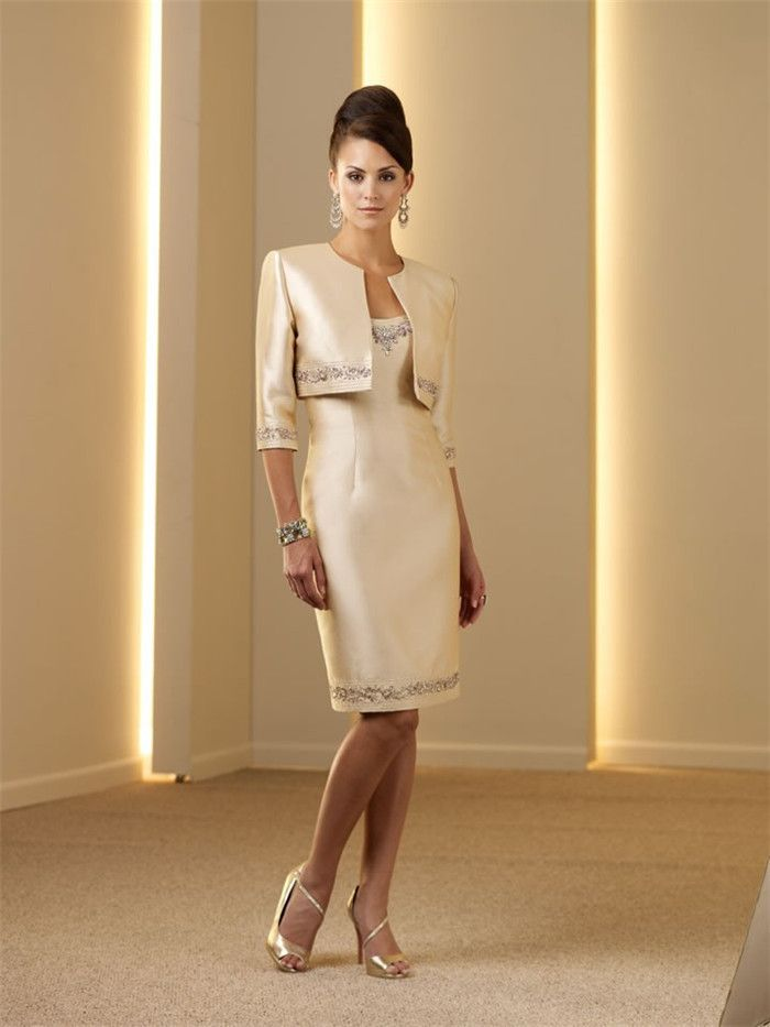 Elegant Strapless Sheath Half Sleeve Suit Mother Of The Bride Dresses With Jacket Beads Knee Length