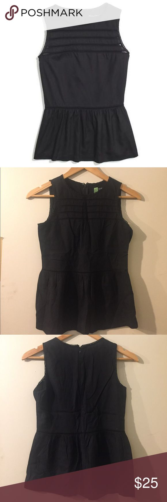 Flirty Black peplum Madewell top Super cute and flirty top! Goes great with a pair or skinny jeans.  (Recently dry cleaned, but then folded.. you can just steam and wear!) Madewell Tops Tank Tops