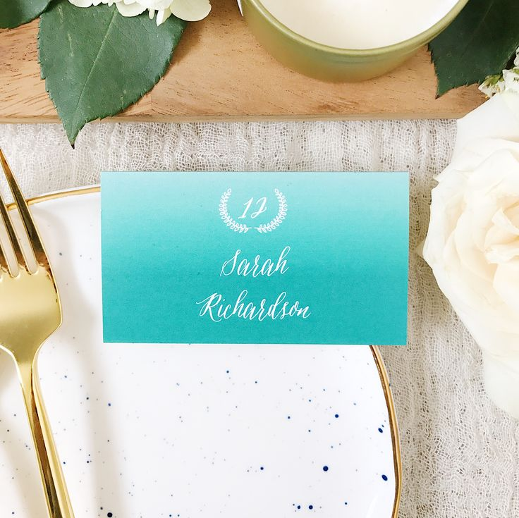 bridal shower invitations registry etiquette%0A Ombre place cards to brighten up your tablescape  Try this look for your  upcoming wedding