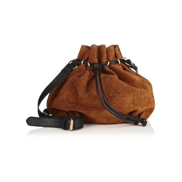 Superdry Ivy Bucket Bag ($75) ❤ liked on Polyvore featuring bags, handbags, shoulder bags, brown, brown bucket bag, distressed leather handbags, genuine leather handbags, brown leather purse and shoulder strap handbags