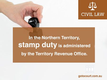Stamp duty in the Northern Territory is one of the main kinds of levies or taxes (together with payroll tax and land tax) that is imposed by States and Territories (unlike income tax, which is imposed at the Commonwealth level).  Read more: Stamp Duty in the Northern Territory, Link: https://www.gotocourt.com.au/civil-law/nt/stamp-duty-in-the-northern-territory/