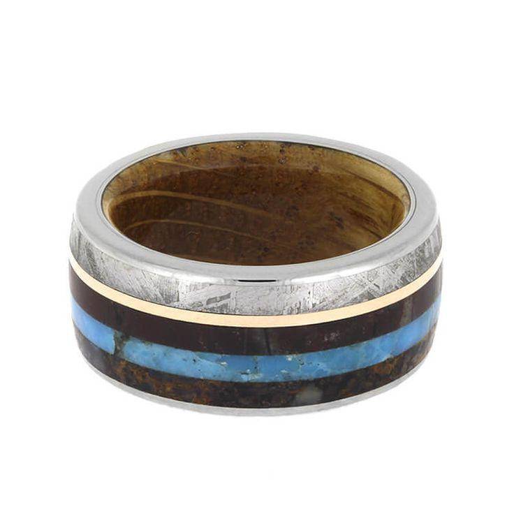 Whiskey Oak Wood Sleeve Ring, Dinosaur Bone Ring With Turquoise, Meteorite, And 14k Rose Gold-2599
