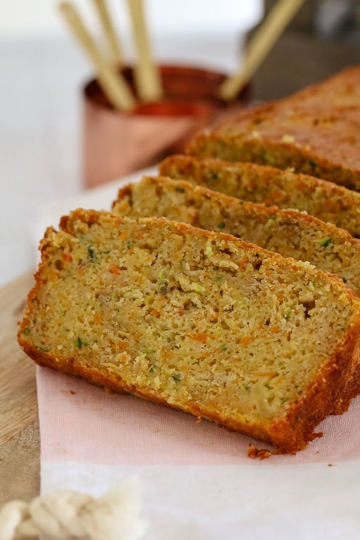 A simple (and nut-free) Apple, Zucchini & Carrot Bread that is moist and delicious. Perfect for lunch boxes or an afternoon tea treat!