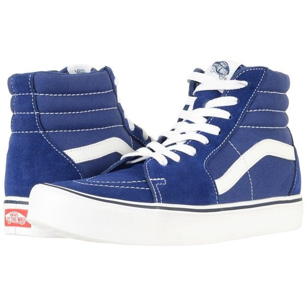 Vans SK8-Hi (Winter Moss/True White) Skate Shoes ($65) ❤ liked on Polyvore featuring shoes, sneakers, skate shoes, high-top sneakers, leather high top sneakers, white leather high tops and leather sneakers