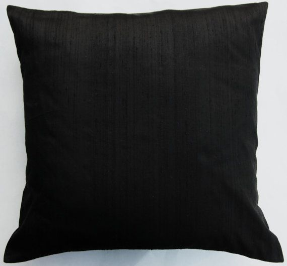 Black Pillow Cover -- Black Silk Throw Pillow Cover - 18 x 18. $19.99, via Etsy.