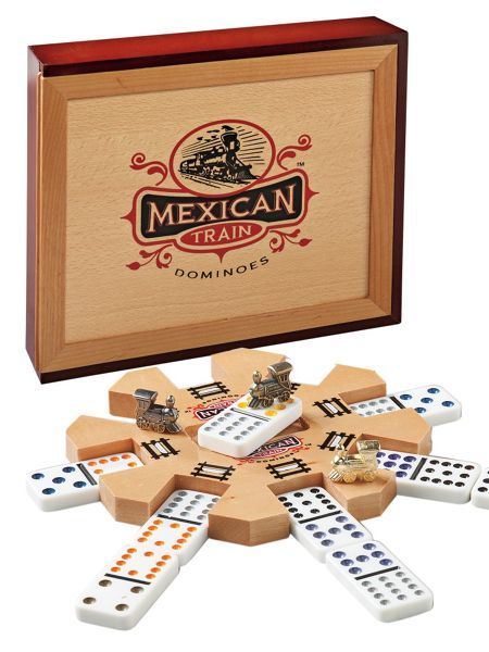 """Mexican Train Dominoes - Attach your dominoes to the """"trains"""" coming from the station """"hub."""" You win Mexican Train Dominoes if you're the first to lay down all your dominoes! Solutions.com"""
