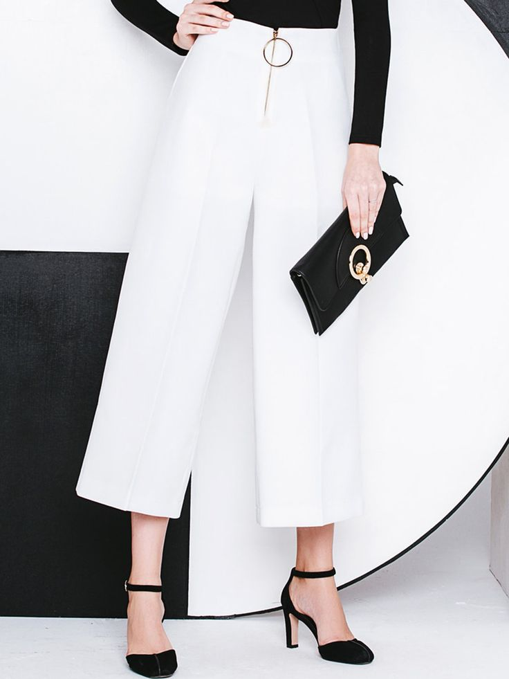 Shop Wide Leg Pants - Black Simple Polyester Zipper Wide Leg Pant online. Discover unique designers fashion at StyleWe.com.