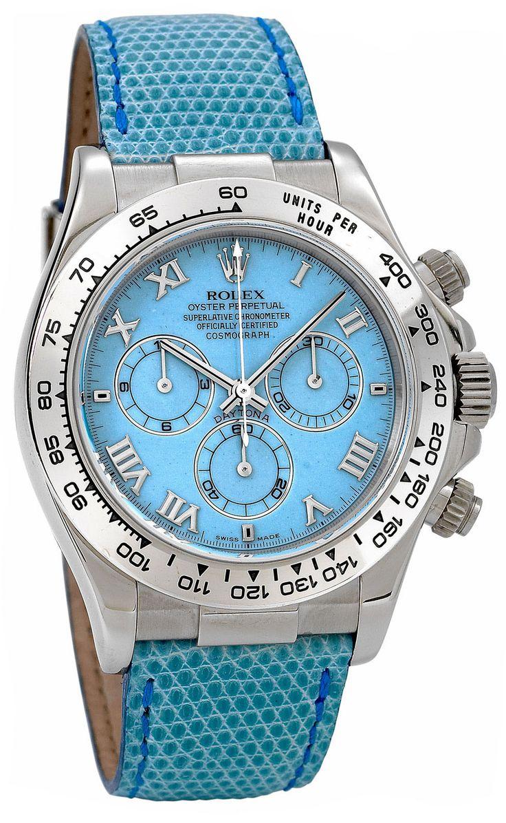 116519 blue Rolex часы Daytona White Gold - Leather Strap Blue Dial - Ролекс - швейцарские мужские часы наручные (женские, унисекс), золотые, голубые - хронограф
