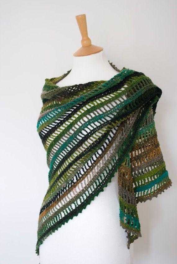 green gray black crochet shawl woodland lace door annerstreet