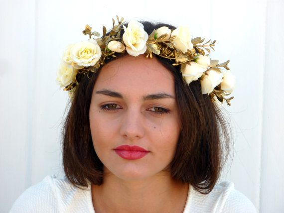 White  roses  flower crown Gold Spring wedding by BlackSwanFeather