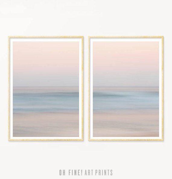 Ocean Print Set of 2, Beach Prints, Abstract Art Prints, Coastal Wall Art Prints, PRINTABLE Art, Ocean Waves, Beach Photography, Blush Pink – Tina