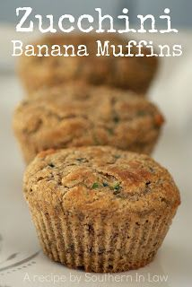 Note from Bling Becky: Making these right now! Subbing almond meal for ground flaxseed. We'll see how that goes! Healthy Banana Zucchini Muffins