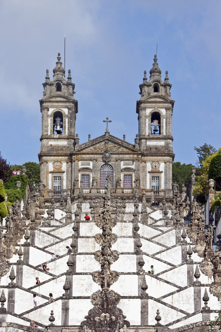 Portugal, Braga - Bom Jesus do Monte Sanctuary. Its name means Good Jesus of the Mount.  The Sanctuary is a notable example of pilgrimage site with a monumental, Baroque stairway that climbs 116 meters (381 feet).