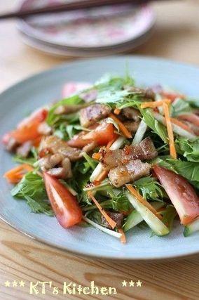カリカリ豚と水菜のアジアンサラダ|レシピブログ