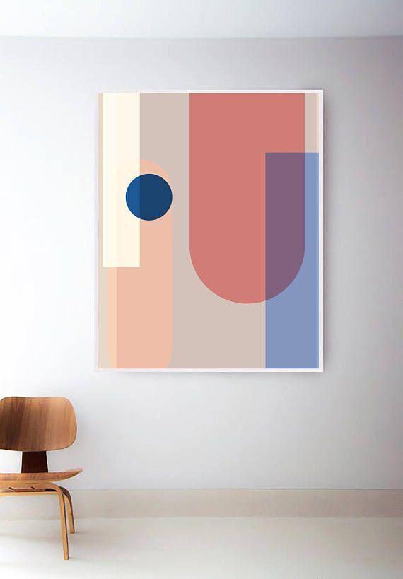Druckbare Pastell Mid Century Modern Print | Tausendjähriger rosa Druck | Abstrakte geometris…