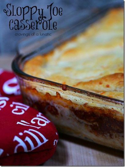 Sloppy Joe Casserole Easy Dinner Recipe...I will used cheddar cheese and regular crescent rolls