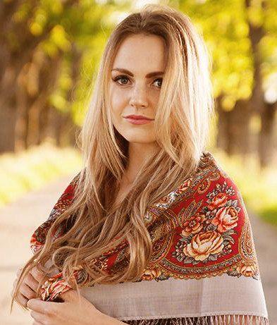 Russian kerchief Pavlovo Posad Wool shawl Brown cream Roses