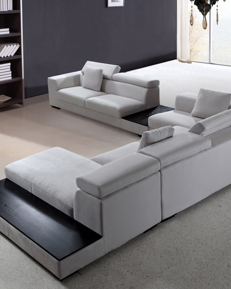 Forte Grey Microfiber Modern Sectional La Furniture
