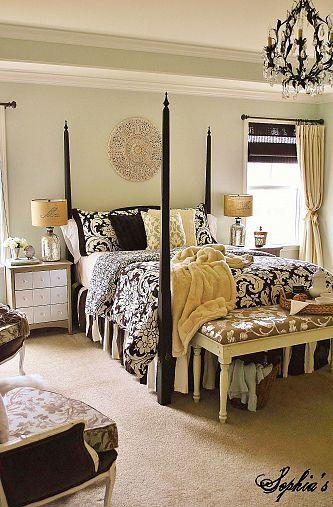 Cozy Master Bedroom Retreat Night Stands Damask Bedding