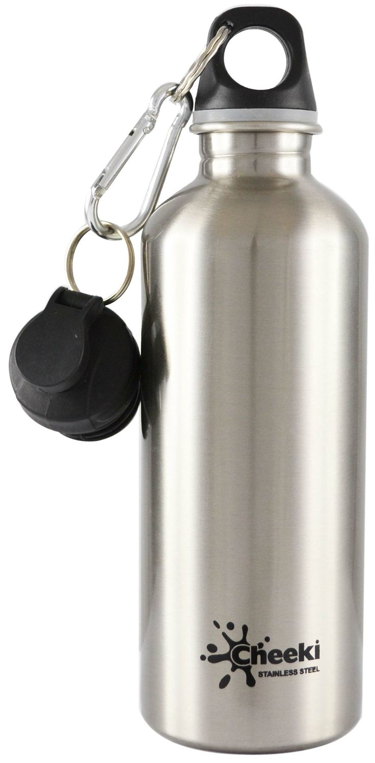 Cheeki Stainless Steel 500 ml Water Bottle - Silver.Smart and trendy Cheeki stainless steel water bottles for older  kids and adults alike is a healthy, fun and eco-friendly way to avoid wasting money on bottled water! #bpafree #steelbottles
