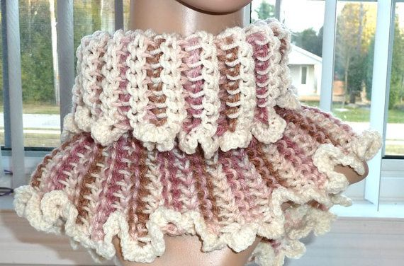 Crocheted Cowl  Hoodie  Reversable Cream by SouthamptonCreations