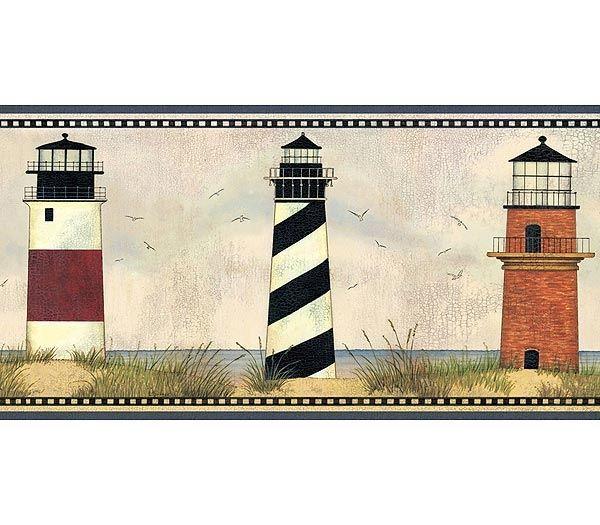 Lighthouse bathroom decor lighthouse wallpaper border for Wallpaper borders bathroom ideas