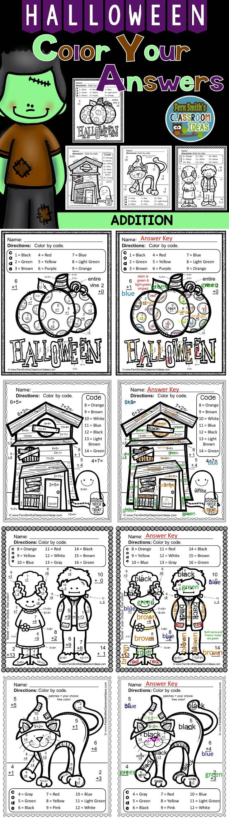 #Halloween Fun! Basic Addition Facts - Color Your Answers Printables! FOUR No Prep Printables that can be used for your math center, small group, RTI pull out, seatwork or homework. #TpT #FernSmithsClassroomIdeas $paid