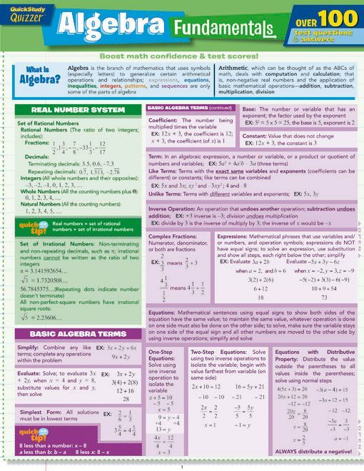 "Get a leg up on the basics of algebra with this special 6 page ""Quizzers"" version of our popular Algebra Fundamentals guide. Not only can you find the same algebraic definitions, tips, and example problems as featured in the previous version, there are now practice questions to answer and problems t"