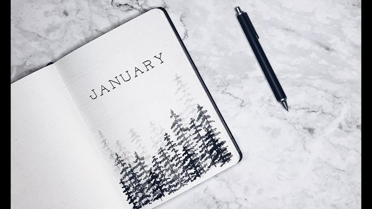 Minimalist bullet journal – January 2018 (Winter t…
