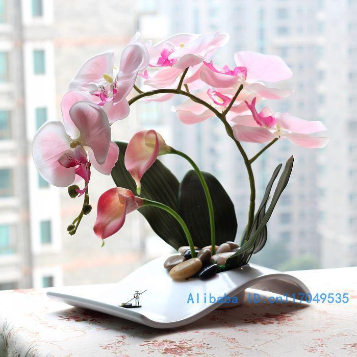 flower arrangement ikebana arranged artificial Butterfly Moth Orchid silk Flower include vase Home Decoration FV25 US