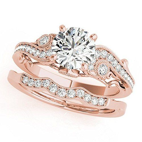 Pretty Jewellery 14K Rose Gold Over 925 Silver Vintage Style Diamond Engagement Wedding Bridal Rings Set