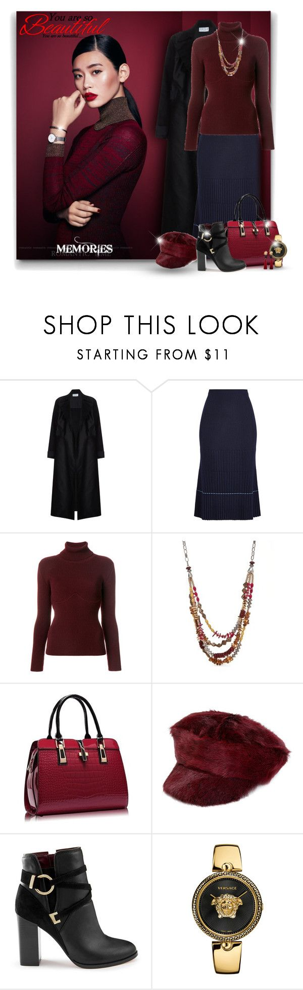 """""""Wool Skirt with Ankle Boots"""" by elona-makavelli ❤ liked on Polyvore featuring Daniel Wellington, Victoria Beckham, Balenciaga, Ruby Rd., Prada, Miss Selfridge, Versace and MANGO"""