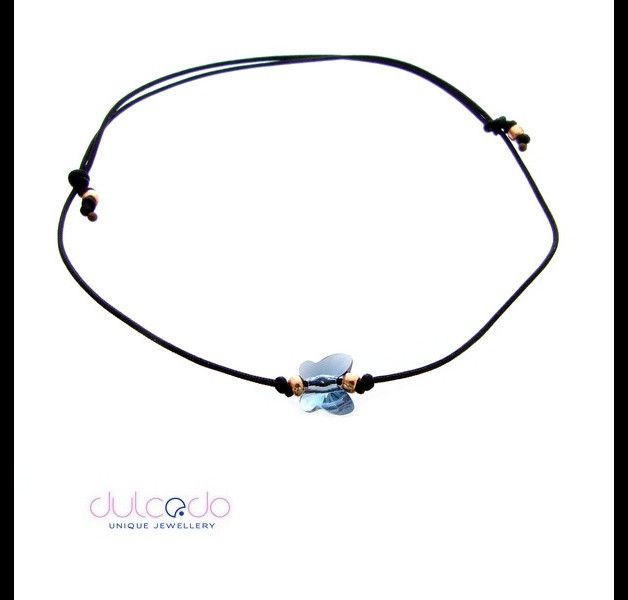 Black bracelet with Swarovski element - butterfly Size adjustable - large adjustment range, allows you to wear it well for your children. Bracelets are made of durable, nylon cord, you can also...