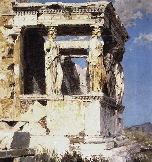 An exceptional painting by Vasily Polenov of the Acropolis 'iconic Porch of the Maidens' and beautiful Caryatids