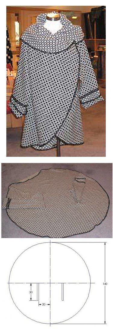 """Накидка-пальто своими руками за полчаса!  Шьется, вместе с раскроем за полчаса. Проймы обрабатываются, как петли """"в рамку"""".  На данном варианте рукава почти кимоно, чуть заужены книзу. Сшиты бельевым швом.  Без рукавов ее можно одевать «вверх ногами», самому определять - где ноги. Если шить рукава по типу кимоно, то эта возможность сохраняется, а если """"правильные"""" рукава,"""