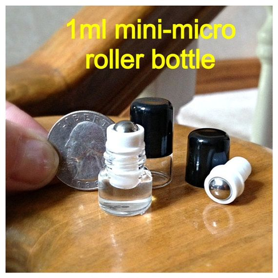12 clear glass micro mini roll on roller bottles 1ml. Black Bedroom Furniture Sets. Home Design Ideas