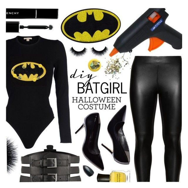 """DIY Batgirl Halloween Costume"" by pastelneon ❤ liked on Polyvore featuring Michael Kors, Studio, Topshop, Deborah Lippmann, Givenchy, Kiki de Montparnasse and plus size clothing"