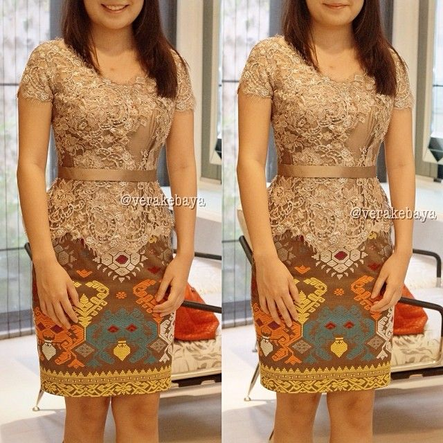 Soft Brown Kebaya - A modern kebaya combined with embroidery tulle and bali songket.
