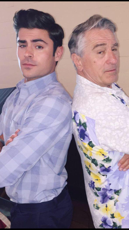 Zac Efron with Robert De Niro on set of their film Bad Grandpa