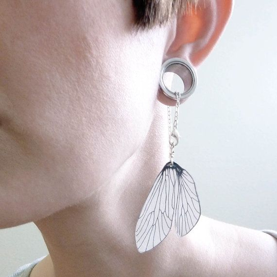 Caddisfly wing dangle earrings for stretched by horseflesh on Etsy