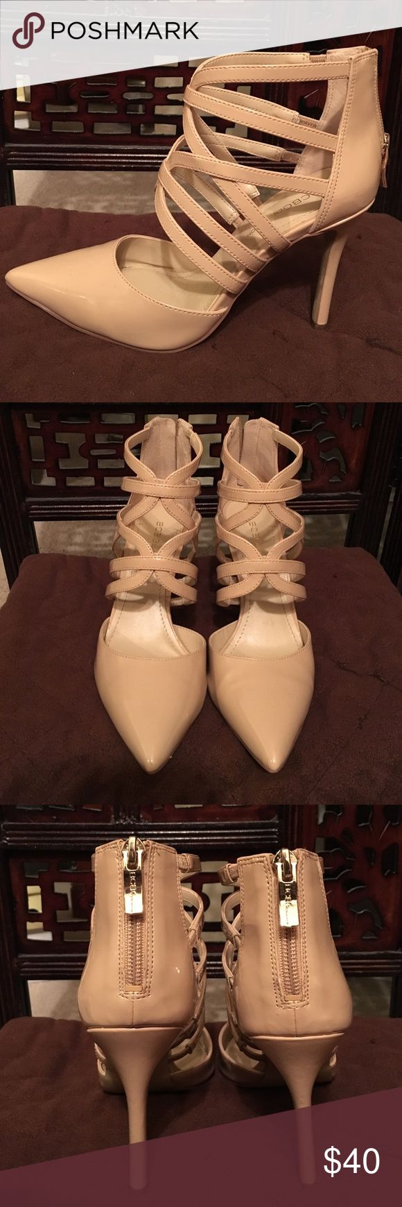 """BCBGeneration strappy neutral pumps Size 6    Neutral patent 4"""" heel with zip up back by BCBGeneration.  Worn once/excellent condition.  ❌sorry no trades BCBGeneration Shoes Heels"""