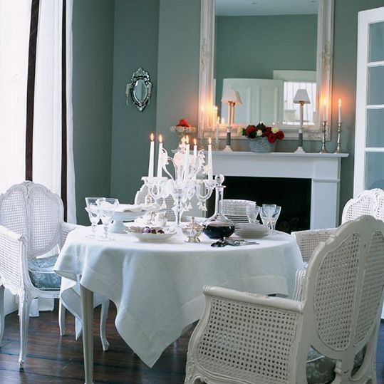 Navy blue nautical painted furniture classic dining for Navy blue dining room ideas