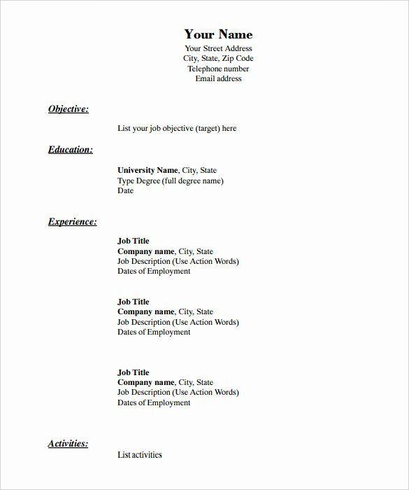 Free Resume Templates Pdf New 46 Blank Resume Templates Doc Pdf